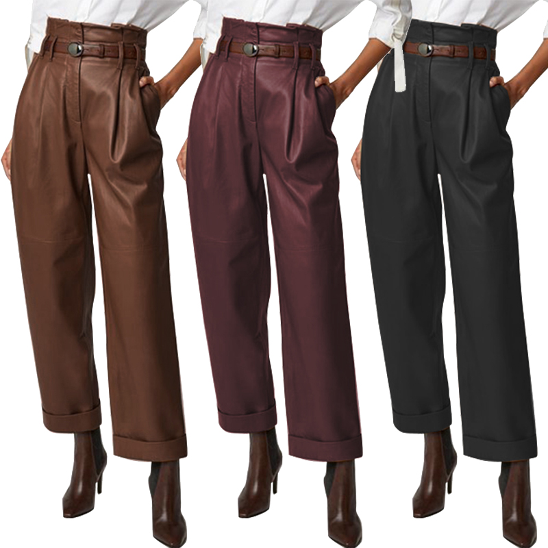 Fashion Womens Wide Leg Trousers ZANZEA 2020 PU Leather Pants Casual Button Zip Long Pantalon Female Black Turnip Plus Size