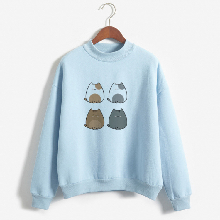 Casual Kawaii Hoodies Women 2019 Autumn BlueHoodies Women Cat Hoodie Cute Sweatshirt Streetwear Clothe For Teens Hoodies Cartoon