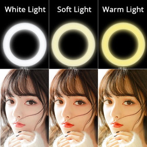 Image 2 - Dimmable LED Selfie Ring Light Camera Phone USB ring lamp Photography Fill Light with Phone Holder Stand For Makeup Live Stream