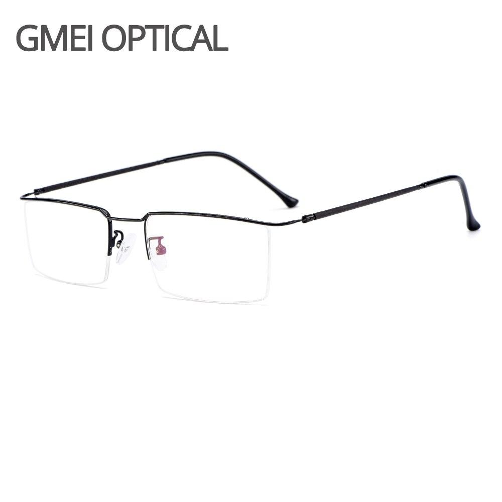 Gmei Optical Ultralight Business Men Titanium Alloy Glasses Frame Square Eyewear Flexible Temple Legs IP Electroplating Y2533