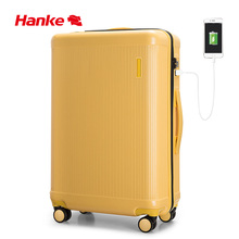 цена на Hanke Rolling Luggage Bag Luxury Designer Suitcase Travel Trolley Case Men Women 100% PC USB Charge Spinner Wheel TSA Lock H9803