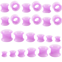 2 pcs/lot Purple Thin Silicone Ear Stretchers Plugs and Tunnels Double Flare Hollow Gauges Expanders Piercing Body jewelry