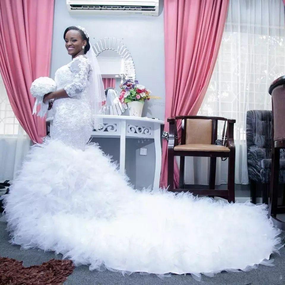 Africa Mermaid Wedding Dress 2019 Boat Neck Appliqued 3/4 Sleeves  Long Train Ruffles Bridal Wdding Gowns Vestidos De Noiva