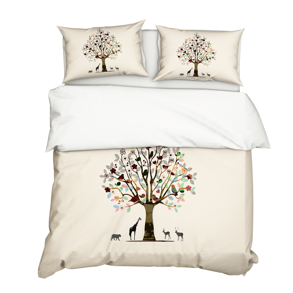 YuXiu 3D Animal Tree Duvet Covers 3Pcs Set Black Bedding Sets Bed Linen Cover Pillowcase King Queen Full Twin Single