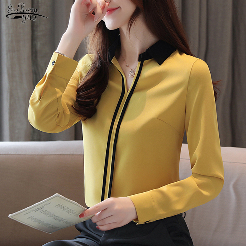 2019 Autumn New Long Sleeve Solid Blouse Women Casual V Neck Pullover Chiffon Shirt Women Blouse Tops Chemisier Femme 7201 50