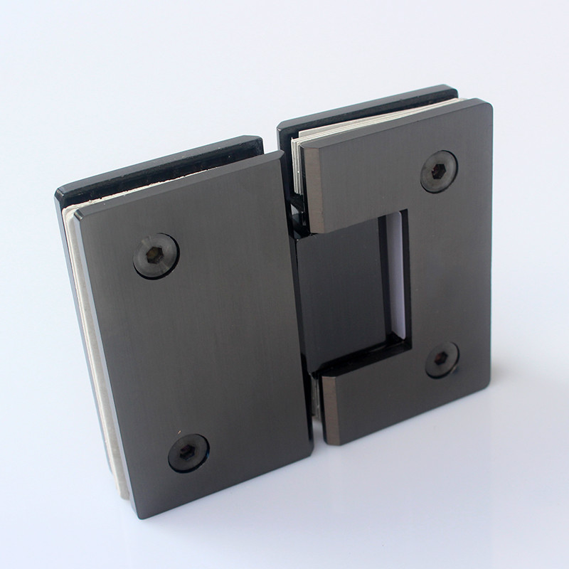 Black titanium brushed stainless steel bathroom glass clip fixture 180 degree hinge shower room accessories