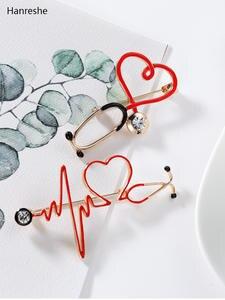 Pin Stethoscope Backpack Jewelry Medical-Medicine-Brooch Lapel Heart-Shaped Nurse-Doctor