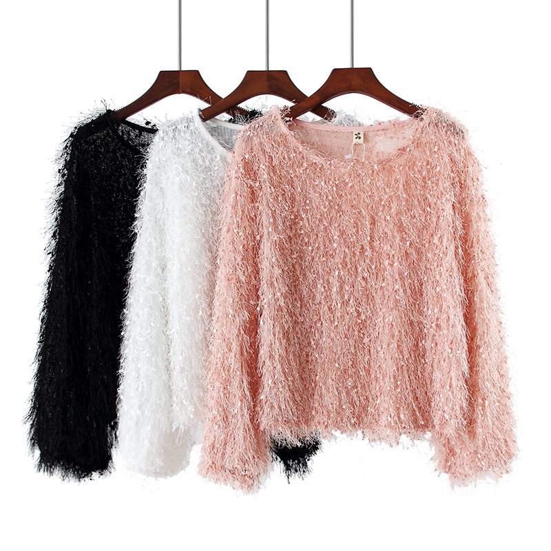 Fringe Long-sleeved Shirt 2019 Autumn New Korean Version Of The Round Neck Short Paragraph Lantern Sleeve Fur Tops