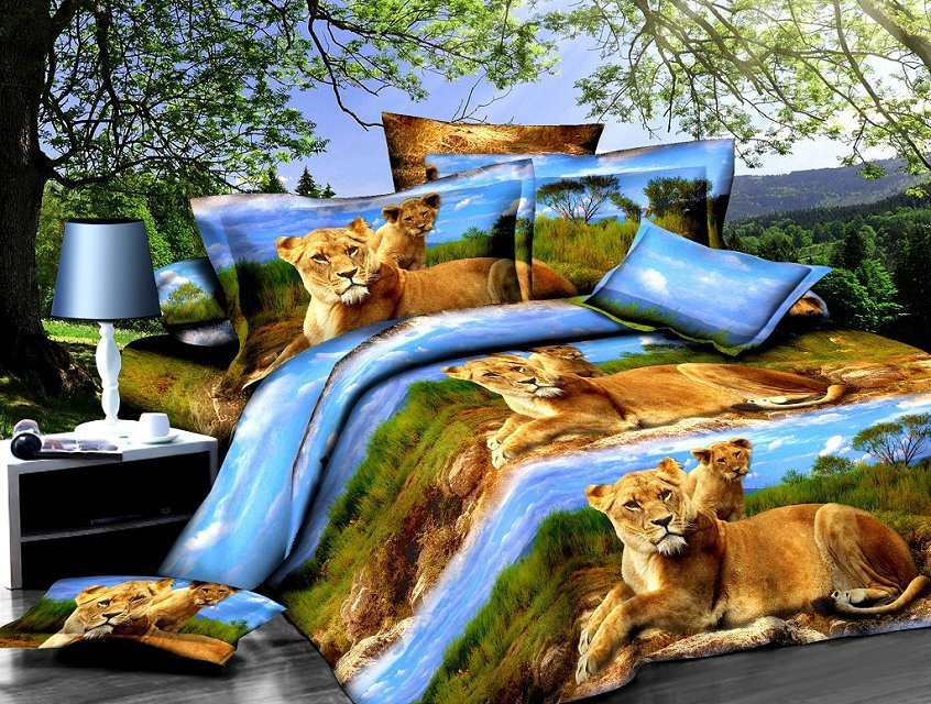 2018 Europe And America Hot Selling 3D Double 3 Pieces Four-piece Set Reactive Printing And Dyeing Bedding Article 3D Bedding