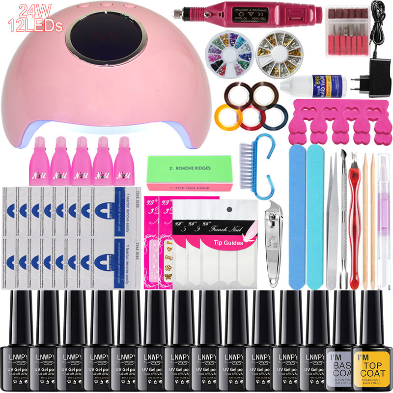 Complete Set Nail Polish24W UV LED Dryer And 0/6/10/12 Color Gel Nail Polish And Nail Drill Set For Soaked Manicure Set Gel Tool