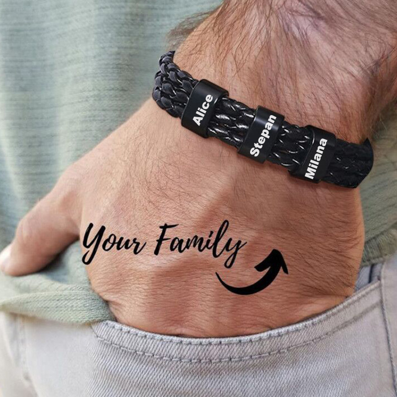 Черный плетеный кожаный браслет с именем персонализированный пользовательский жесткий браслет из бисера для мужчин, мужей, семейные подар...