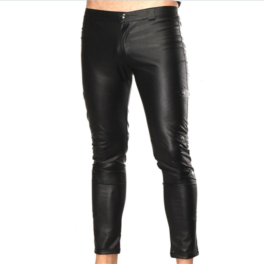 Sexy Man Leather Pants Fashion Men Slim PU Trousers High Elastic Motorcycle Street