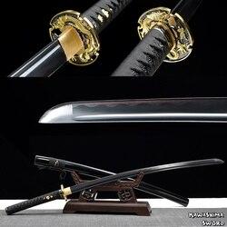 Real katana sword-1045 Carbon steel Handmade Full Tang Sharpness Ready For Cutting -Free Shipping-Dargon Swords-Black Blade