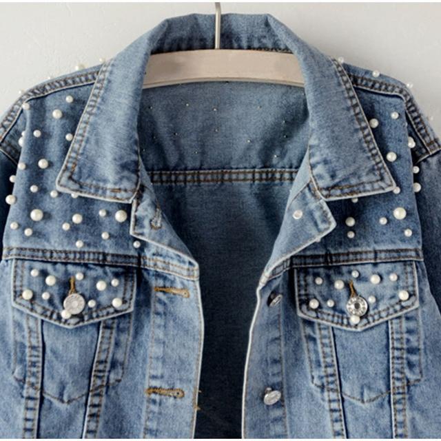 Grande taille perle perles courtes Denim vestes 3Xl 5Xl femmes blanc lavage à manches longues Vintage décontracté Jean veste Bomber Denim manteau 4