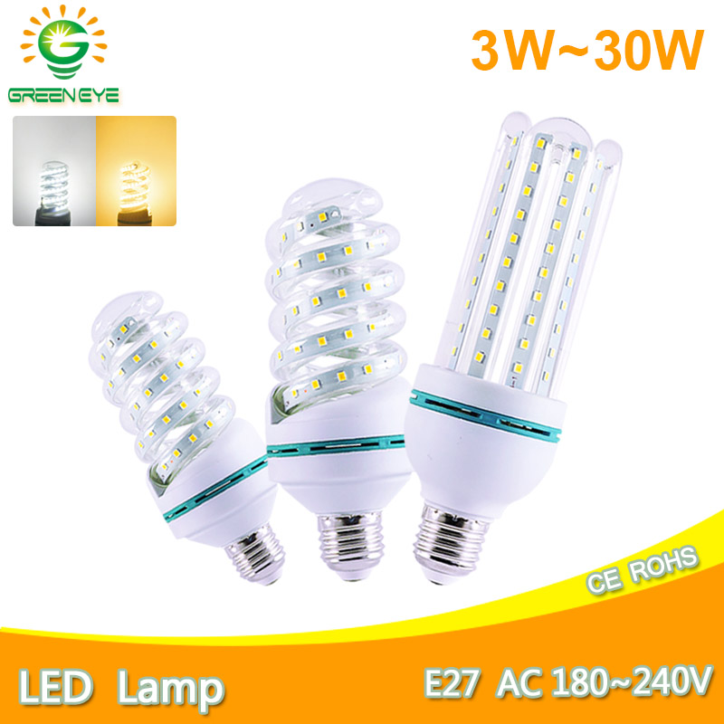Led Lamp E27 E14 Led Bulb Light Real 30W 20W 16W 12W 9W 7W 5W 3W AC 220V 240V Lampara LED Corn Lamp Aluminum Table Lamp Light