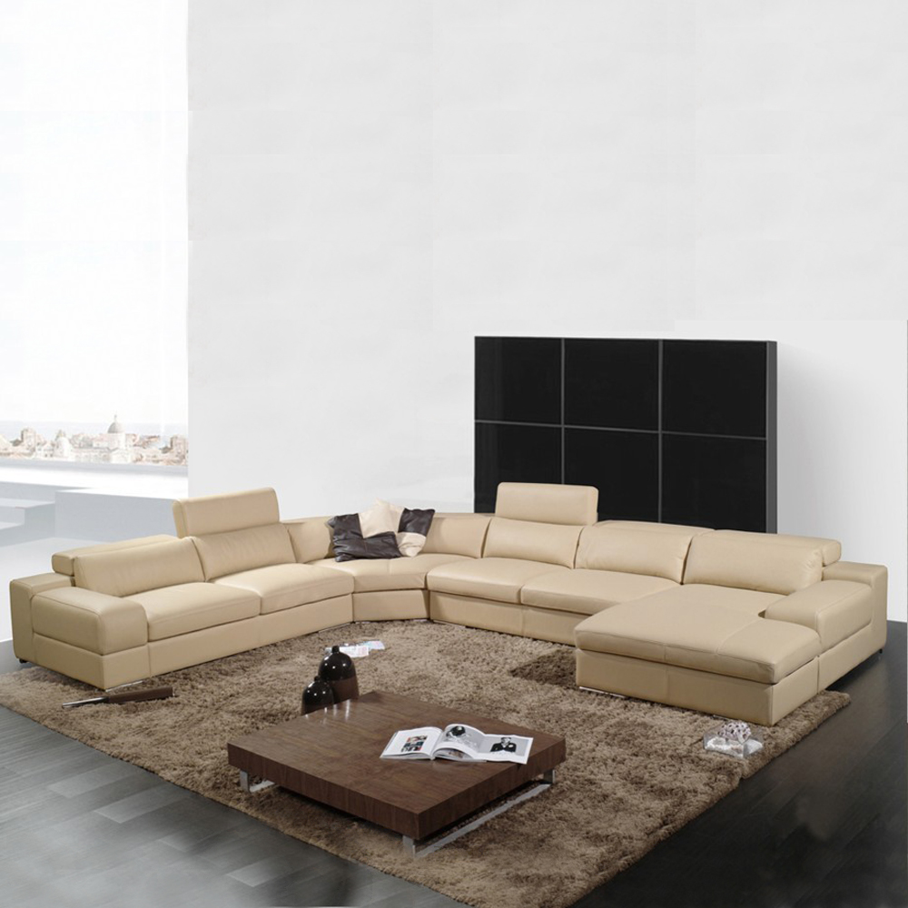 - Elegant And Rational Genuine Real Leather Sofa Living Room Sofa