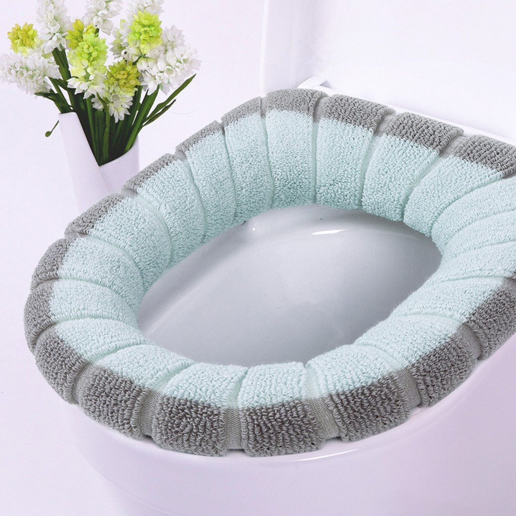 Bathroom Toilet Toilet Pad Can Be Washed Soft Insulation Pad Cover Pad Winter Contrast Color Two-color Warm Toilet Seat Cushion