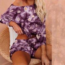 Женский пижамный комплект tie dye свободная пижама с длинным