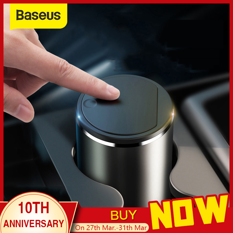 Baseus Alloy Car Trash Can Auto Organizer Storage Bag Car Garbage Bin Ashtray Dust Case Holder Auto Accessories