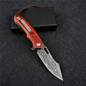 SDOKEDC Knives VG10 Damascus Ball Bearing Hunting Folding Blade Knife Tactical Military Outdoor Survival Edc Wood Pocket Knifes 2