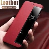 Funda de cuero con tapa para teléfono Samsung, carcasa de lujo con espejo inteligente, para S20, S10, S9, S8 Plus, Note 20, UItra 10 Pro, 8, 9, A51, A71, A50, A31