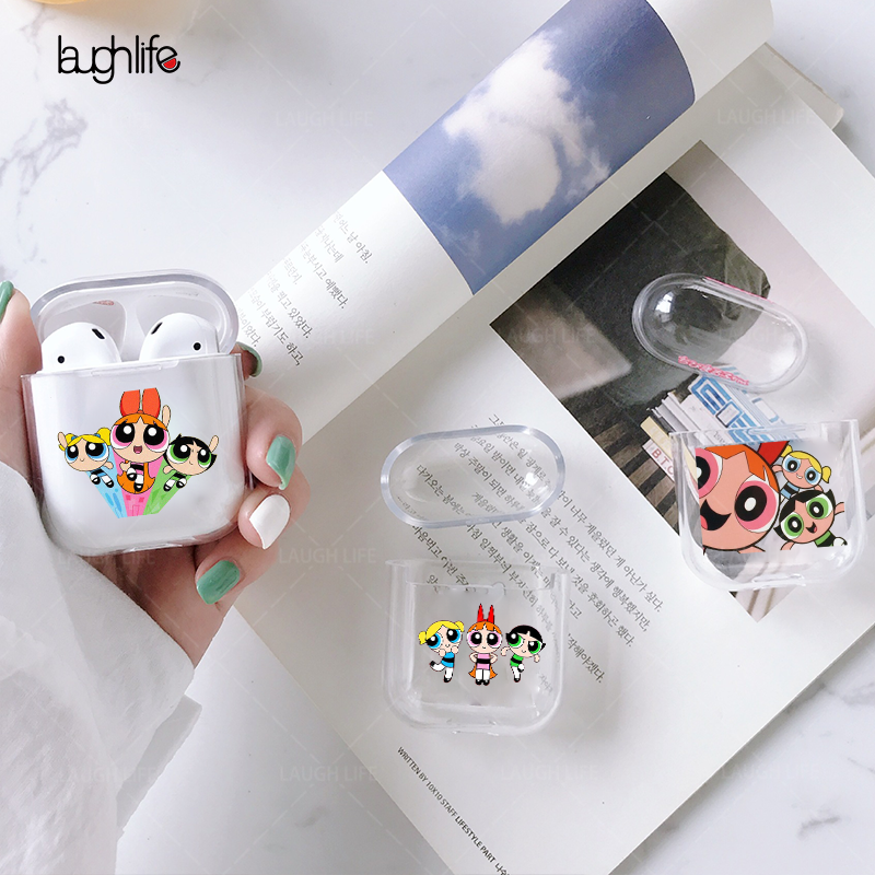 Earphone Covers For Apple Airpods 1/2 Silicone Protection Case Cover Accessories Cute Blossom Powerpuff Police Girls INS Helmet