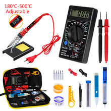 Soldering 80W/60W iron with Digital multimeter kit Adjustable Temperature Auto Ranging AC/DC tester multimetro Welding Tool Kits(China)