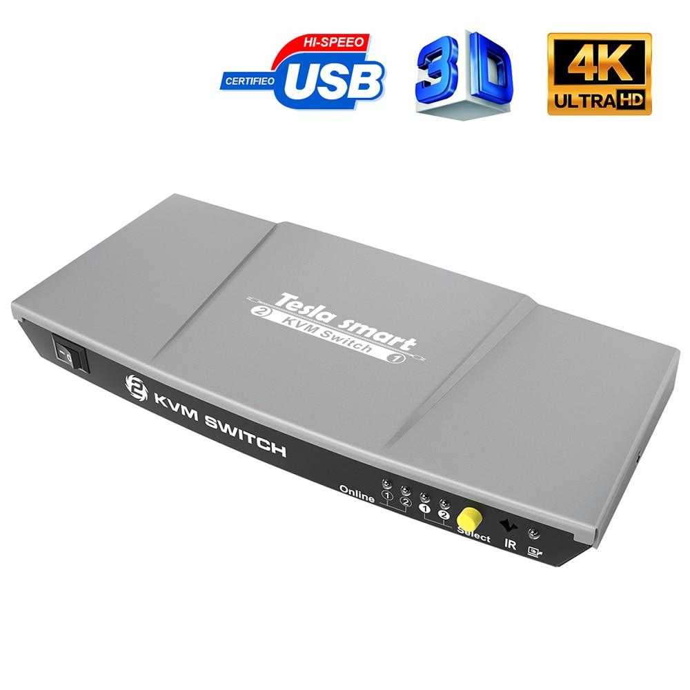 2 Ports KVM HDMI Switch USB KVM 2 Ports HMDI Switch 2 In 1 Out Control 2 PCs With Extra USB 2.0 Port Support 4K*2K (3840x2160)