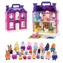 Figuras de acción de Peppa pig para niños, Set de Casa de juguetes para Amigos de la familia, Anime Original, muñecas de fiesta de dibujos animados