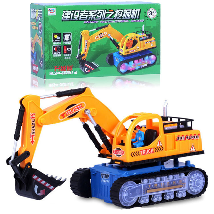 Manufacturers Direct Selling Hot Selling Plastic Electric Engineering Car Excavator Toy Children Light Car Model Excavator