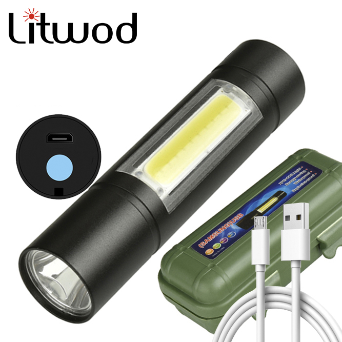 Built In Battery XP-G Q5 Zoom Focus 2000 Lumens Mini Led Flashlight Torch Lamp Adjustable Penlight Waterproof For Outdoor