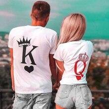 Çift kadın T Shirt kral ve kraliçe baskı komik Femme t-shirt rahat kısa kollu sevimli sevgililer Tee Tops kadın giysileri