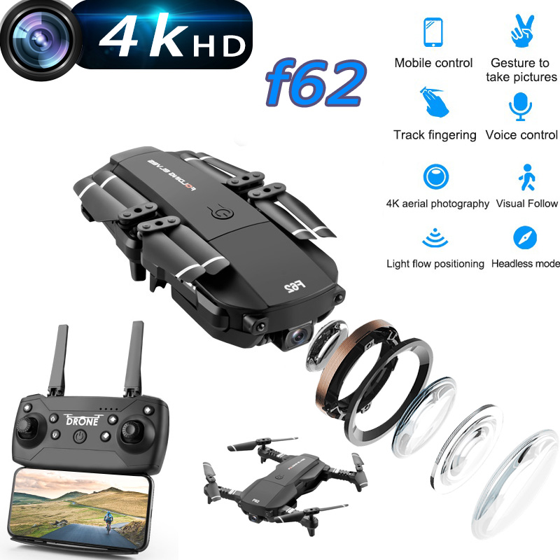 F62 Newest Mini Drone With 4K HD Camera RC Drone Wifi Optical Flow Gesture Control Follow Foldable Quadcopter Toy