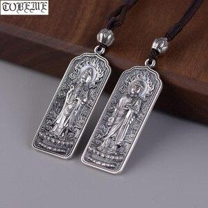 Image 1 - 100% 925 Silver Tibetan Amitabha Buddha Statue Pendant Buddhist Kuanyin Pendant Tibetan Avalokitesvara Pendant Good Luck Amulet