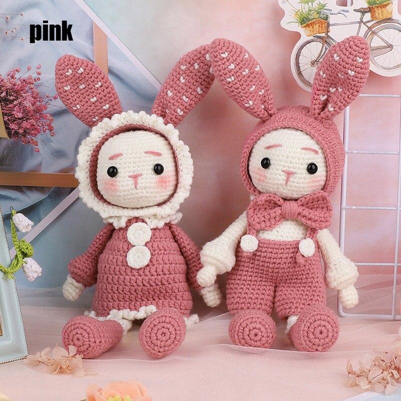 Handmade Crocheted Wool Dolls Material Pack DIY Long Ears Rabbits Handmade Dolls P666