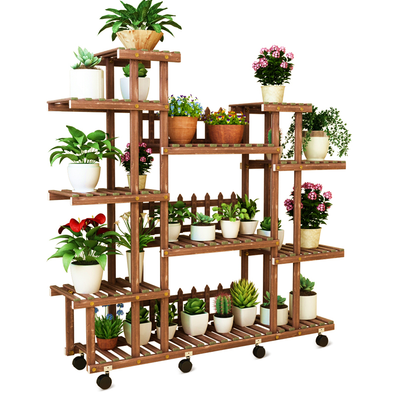 Solid Wood Quality A Living Room Balcony Shelf Multi-storey To Ground Flowerpot Frame Simple And Easy Green Luotieyi Meaty