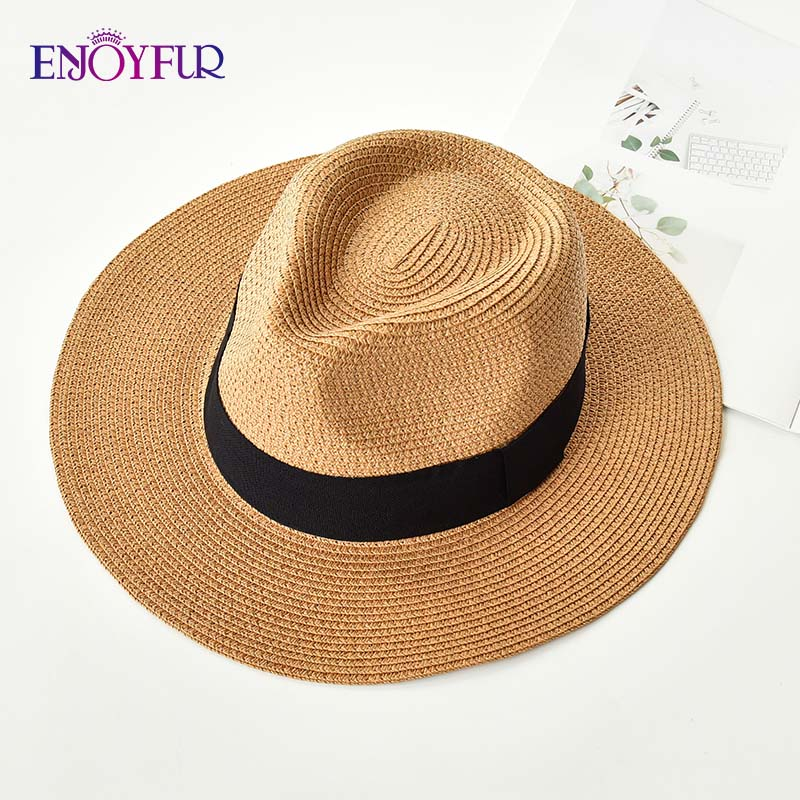 ENJOYFUR Summer Sun Hats For Women Man Panama Hat Straw Beach Hat Fashion UV Sun Peotection Travel Cap