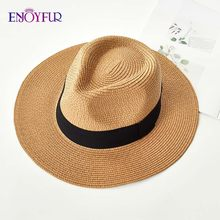 ENJOYFUR Summer Sun Hats For women man Panama Hat straw beach hat fashion UV sun Peotection travel cap(China)
