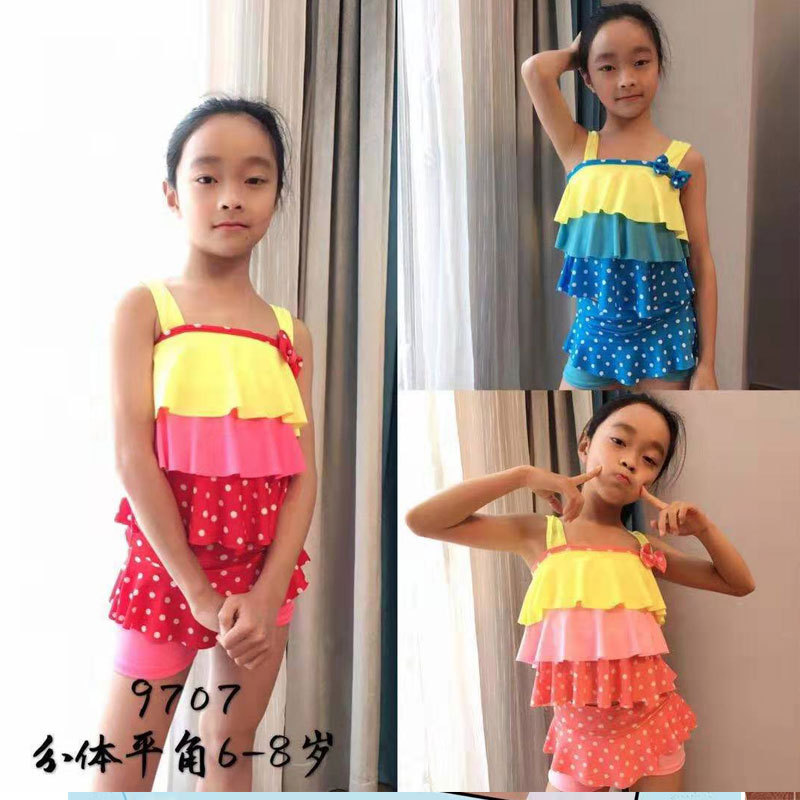 Split Type Children Little Girl Bathing Suit Belly Covering In Child Bathing Suit (6-8-Year-Old) KID'S Swimwear 9707 Swimming Tr