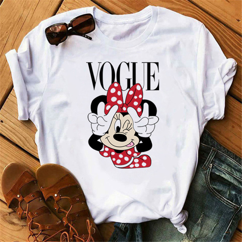 Maycaur Fashion Women Graphic Minnie T-Shirts Cute Mouse Shirt Hipster Female T Shirt Holiday Tops Vogue Women Tshirt Ropa Mujer
