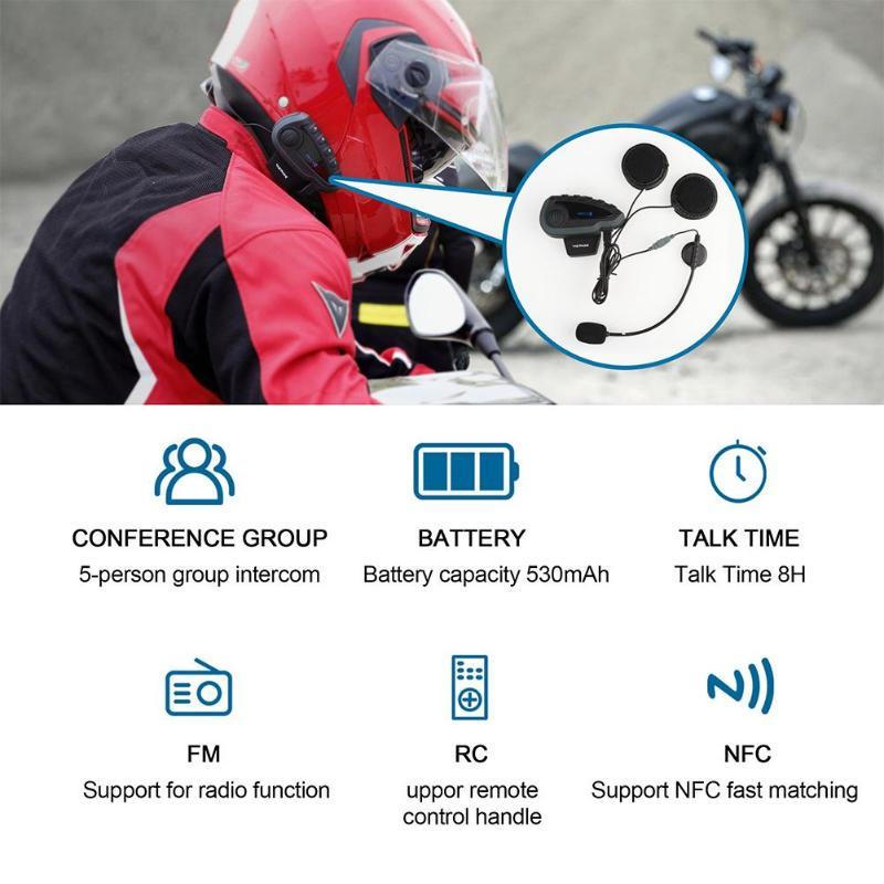 Bluetooth Headset Fernbedienung Griff NFC Spiele Handy Motorrad BT Wireless Intercom FM V8 5 Reiter Helm - 5