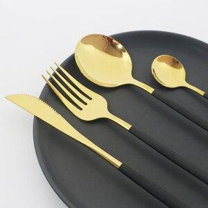 Image 2 - 24Pcs Black Gold Cutlery Set 18/10 Stainless Steel Dinnerware Set Colorful Knife Fork Spoon Tableware Kitchen Dinner Silverware