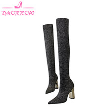Women Winter Boots Slip On Knitting Over The Knee Square Heel Ladies Shoes Super High Heels 10 cm(China)