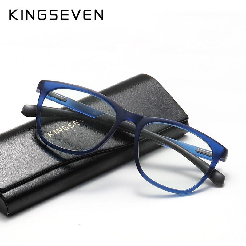 KINGSEVEN-Gafas de ordenador TR90 para hombre y mujer, anteojos redondos con bloqueo, con luz azul, 45%