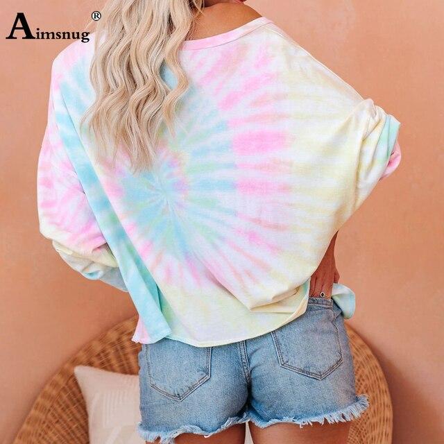 Camiseta informal de ocio para mujer, Blusa de manga larga con estampado Tie-dye, Camiseta holgada de talla grande 3xl para chica 2020 4