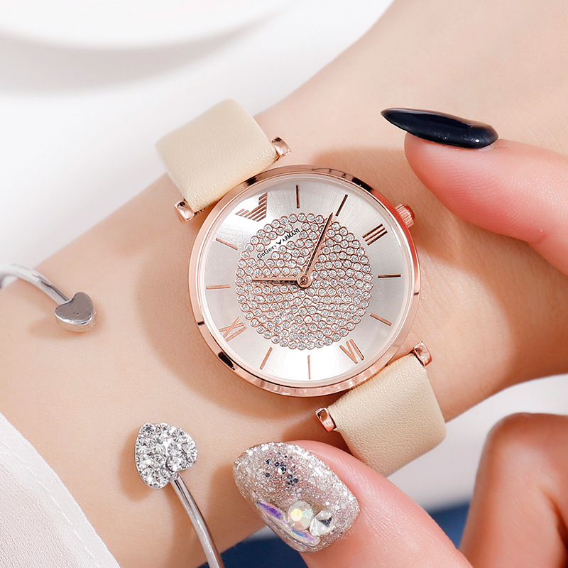 Fashion Diamond Women Watch Quartz Gypsophila Rose Gold Ladies Wrist Watch Luxury Band Romantic Creative Reloj Mujer Roman Dial