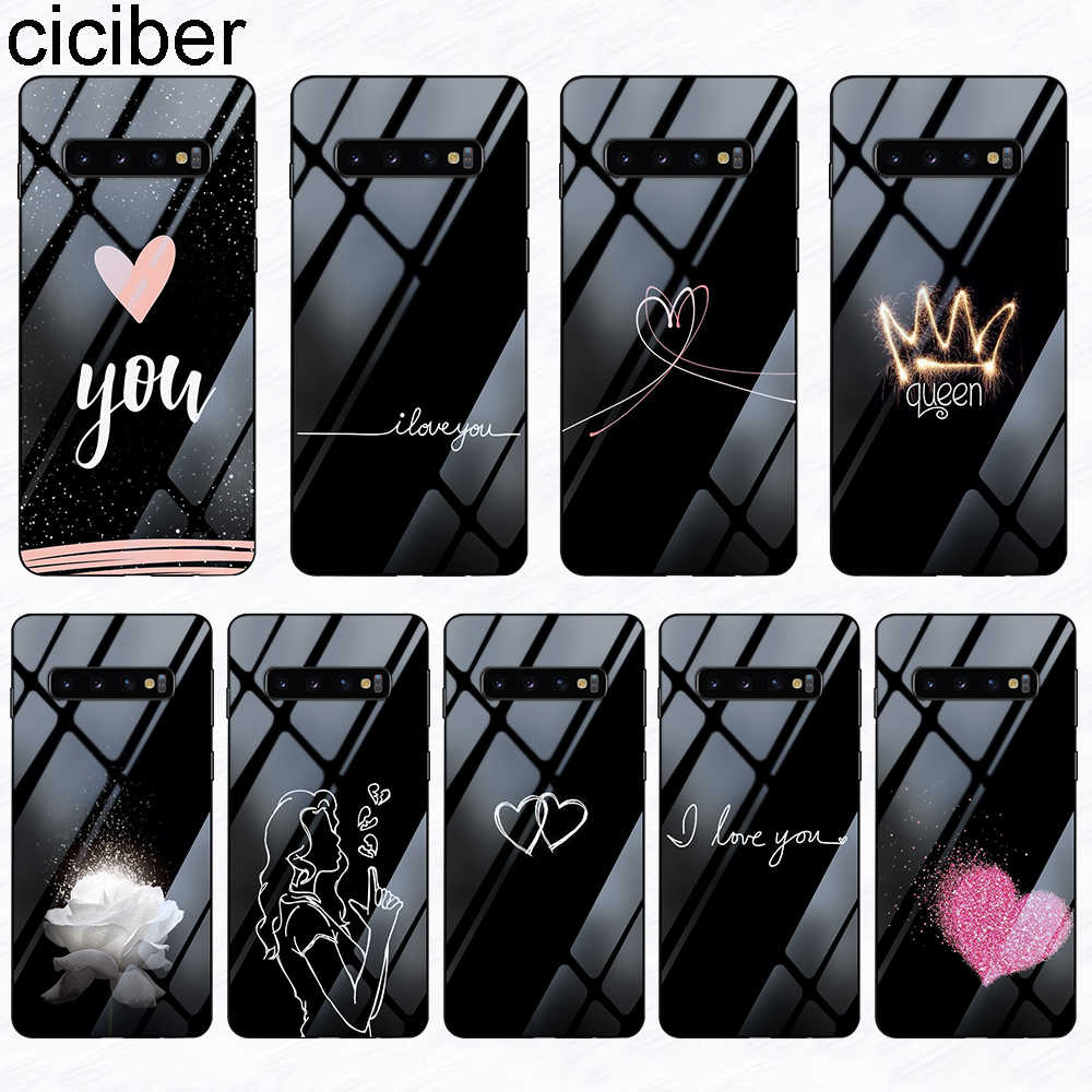 ciciber Phone Case for Samsung Galaxy S10 S9 S8 Plus Note 9 8 S10e S10+ Tempered Glass Cover Coque Queen Heart Floral Capa Funda