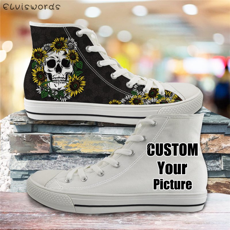 ELVISWORDS Custom Your Picture Shoes Fashion Men Canvas Vulcanized Shoes Breathable High Top Flats for Teen Boys Casual Sneakers
