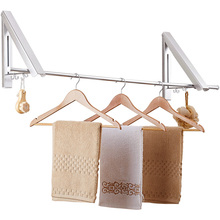 Wall Mounted Clothes Hanger Aluminum Folding Drying Coat Racks Punch-free Home Storage Organiser  _WK