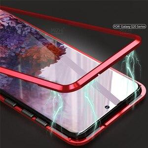 Image 4 - Funda magnética de Metal para Samsung Galaxy S20 Ultra Plus, protector de vidrio de doble cara, 360